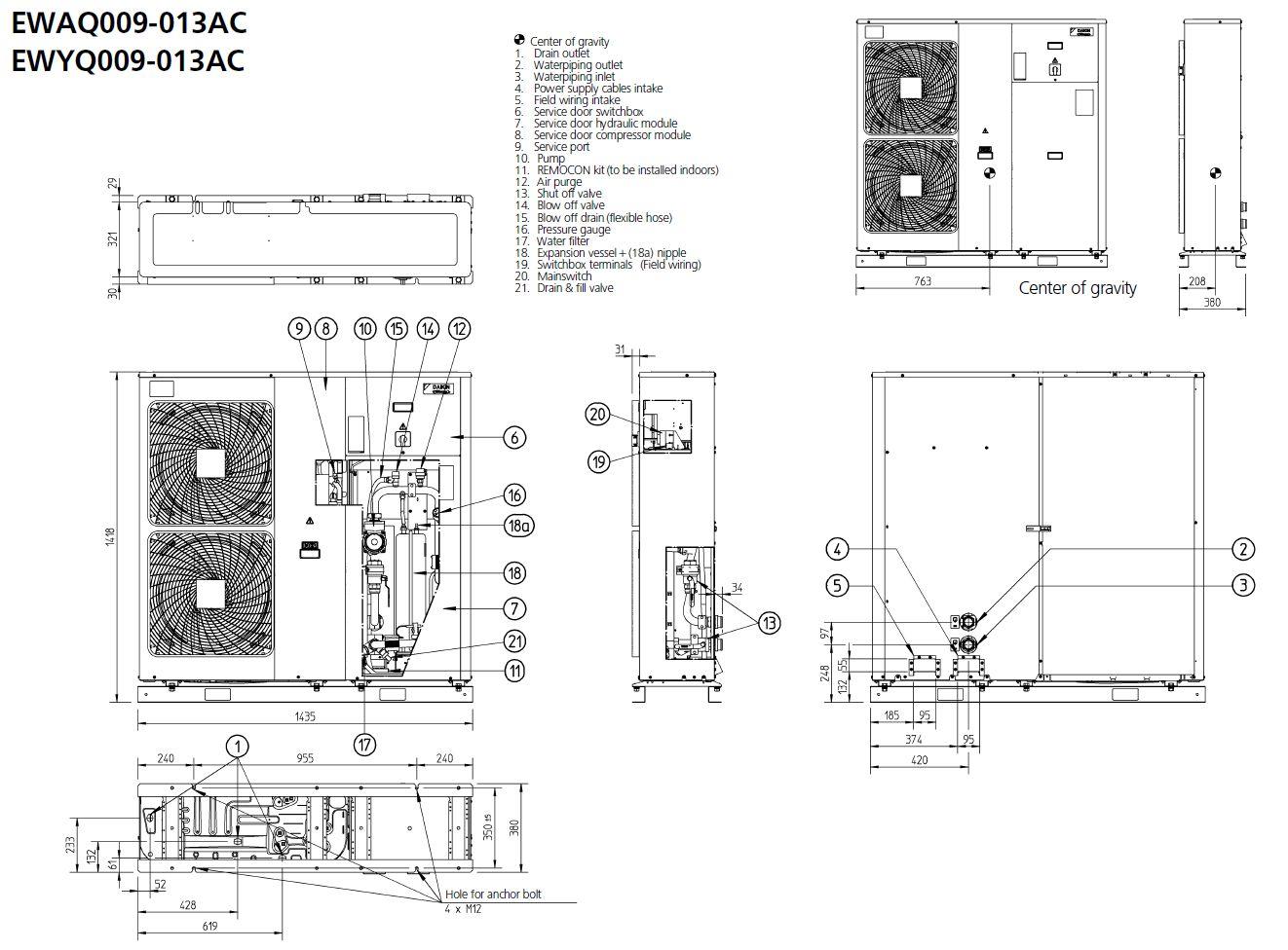 Daikin Ewyq009acv3 Water Chiller Heat Pump Monobloc